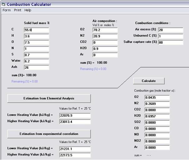 Natural Gas Lhv Calculator