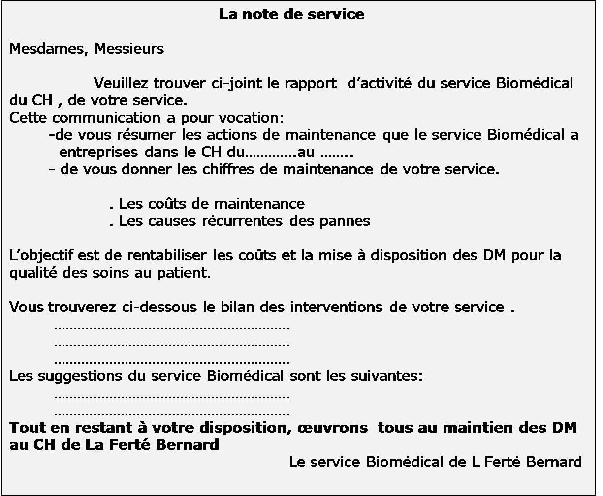 Note de service vehicule professionnel
