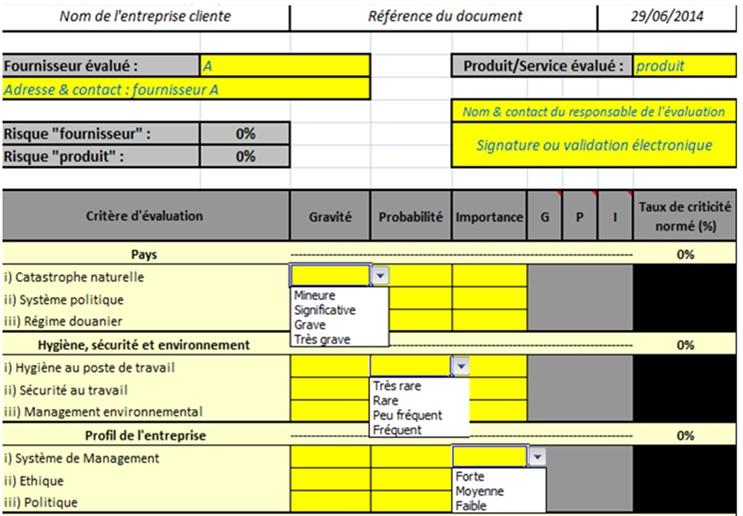 Evaluation des risques fournisseurs en correlation avec lamelioration de la norme iso9001 - Grille d evaluation des risques ...