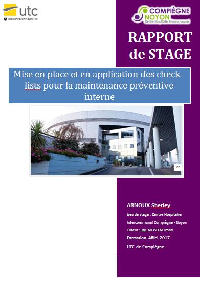 Mise en place et en application des check lists pour la - Rapport de stage 3eme cabinet medical ...
